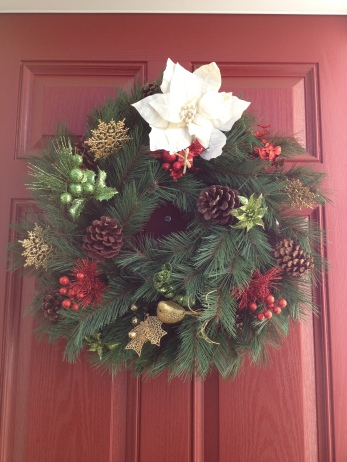 Festive wreath for our front door
