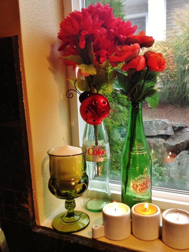 glass bottle vases (2)