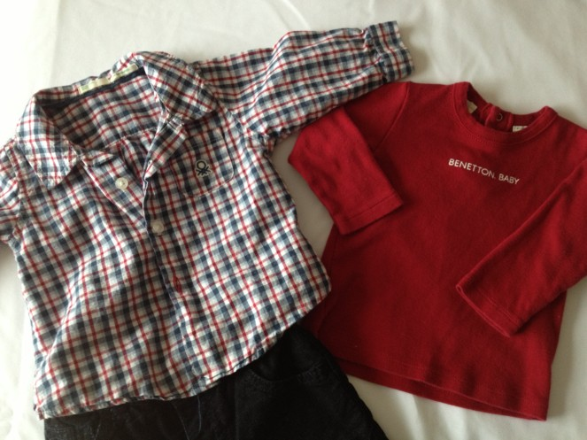 Benetton Baby: Plaid Button Up, Long Sleeve Red Tee, and Black Corduroys.   All in excellent shape!