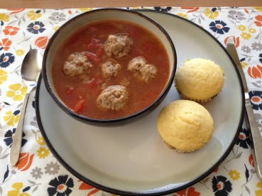 mexican meatball soup and corn muffins